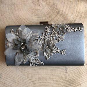 Handbags - Silver Satin Clutch